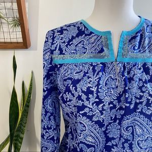 J. Crew blue paisley long sleeve blouse size small